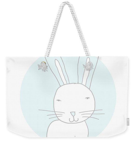White Bunny On Blue- Art By Linda Woods Weekender Tote Bag