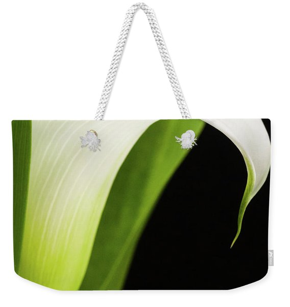 Weekender Tote Bag featuring the photograph White Calla Lily  -90759 by John Bald