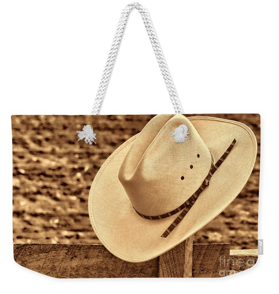 White Cowboy Hat On Fence Weekender Tote Bag