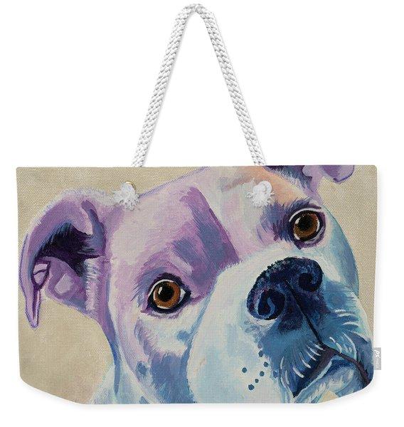 White Dog Portrait Weekender Tote Bag