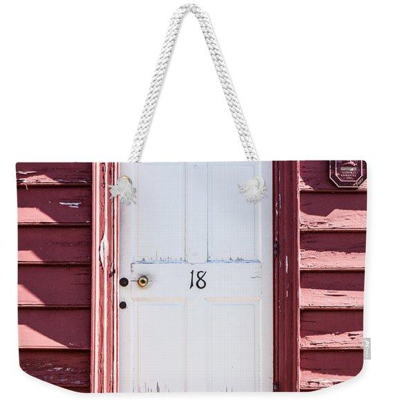 White Door And Peach Wall Weekender Tote Bag