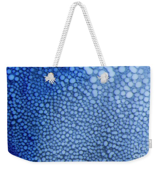 White Dots In Blue Weekender Tote Bag