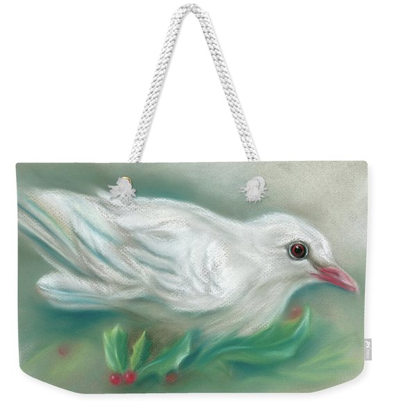 White Dove With Christmas Holly Weekender Tote Bag