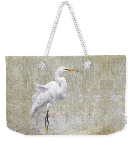 White Egret Rectangle Weekender Tote Bag