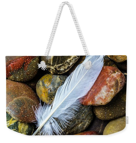 White Feather On River Stones Weekender Tote Bag