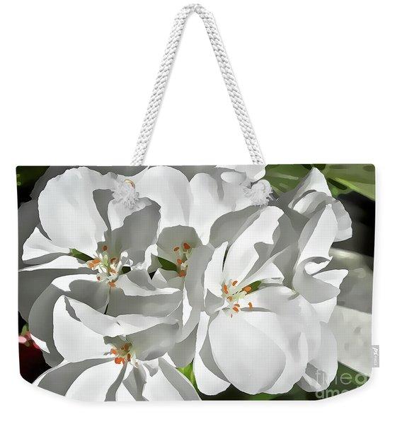 White Geraniums Weekender Tote Bag