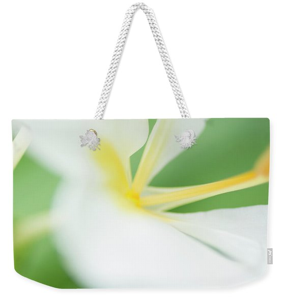 Weekender Tote Bag featuring the photograph White Ginger Macro by Charmian Vistaunet