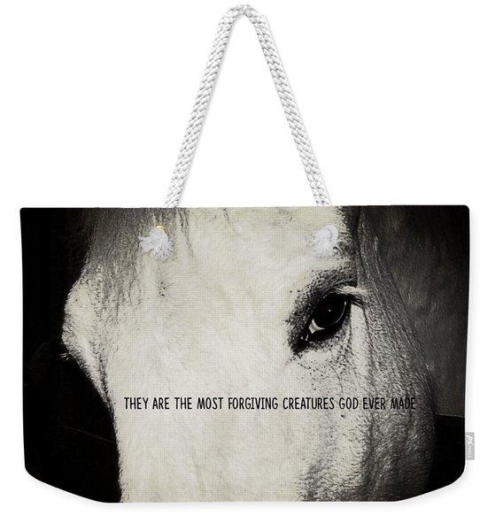 White Grey Quote Weekender Tote Bag