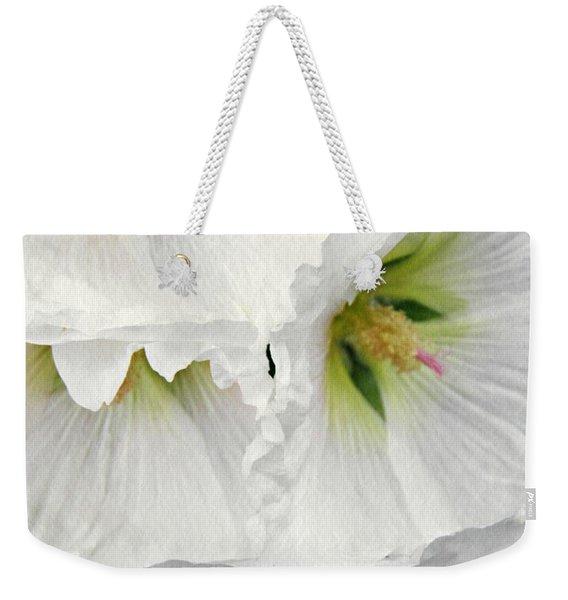 White Hollyhocks Weekender Tote Bag