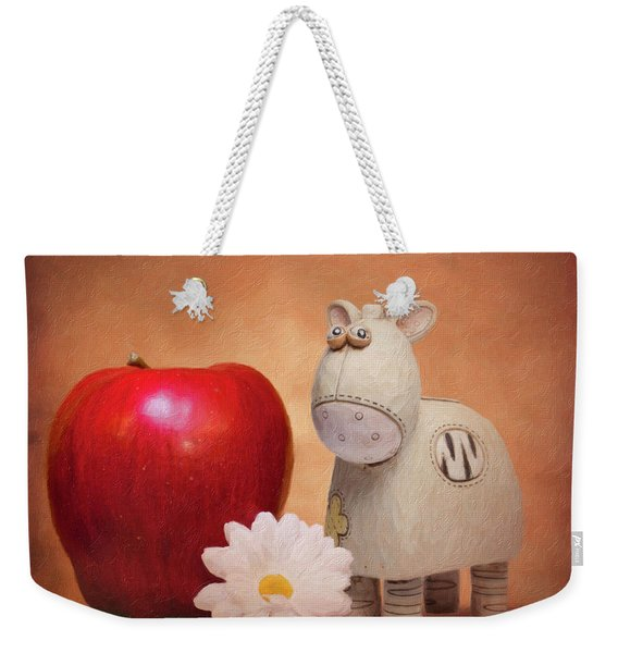 White Horse With Apple Weekender Tote Bag