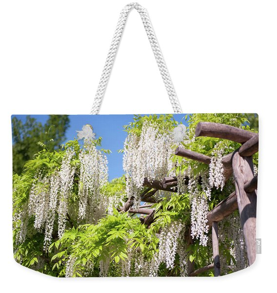 White Inflorescence Of Flowering Wisteria Weekender Tote Bag