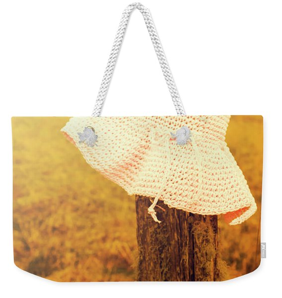 White Knitted Hat On Farm Fence Weekender Tote Bag