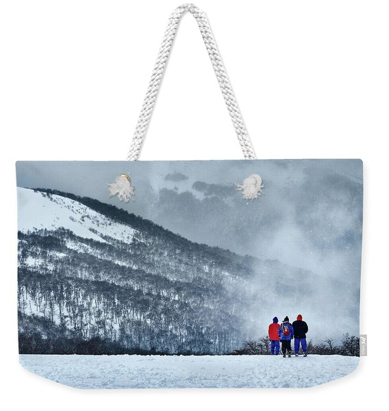 White Landscape In The Frozen Paradise In The Argentine Patagonia Weekender Tote Bag