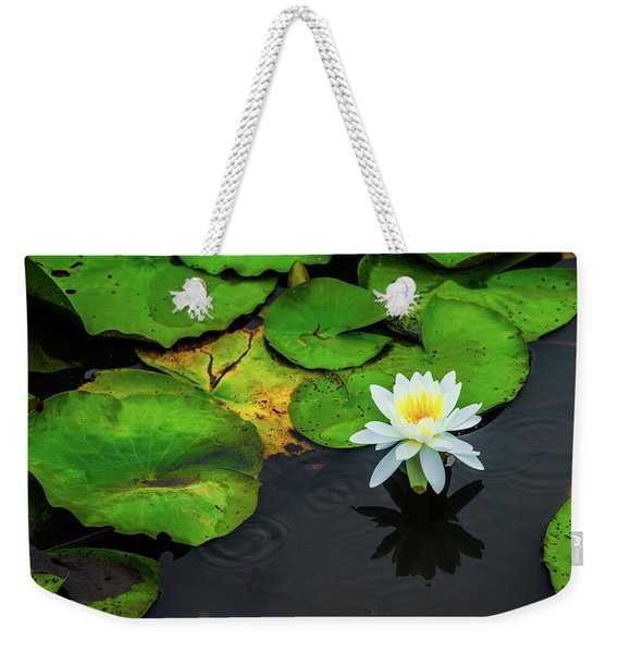 White Lily And Rippled Water Weekender Tote Bag