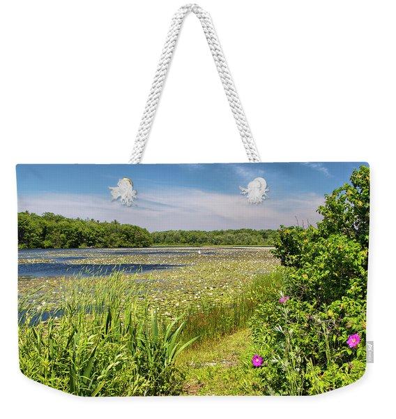 White Lily Pond  Weekender Tote Bag