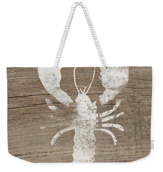 White Lobster On Wood- Art By Linda Woods Weekender Tote Bag