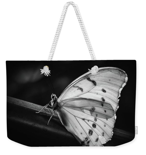 Weekender Tote Bag featuring the photograph White Morpho Black And White by Robin Zygelman