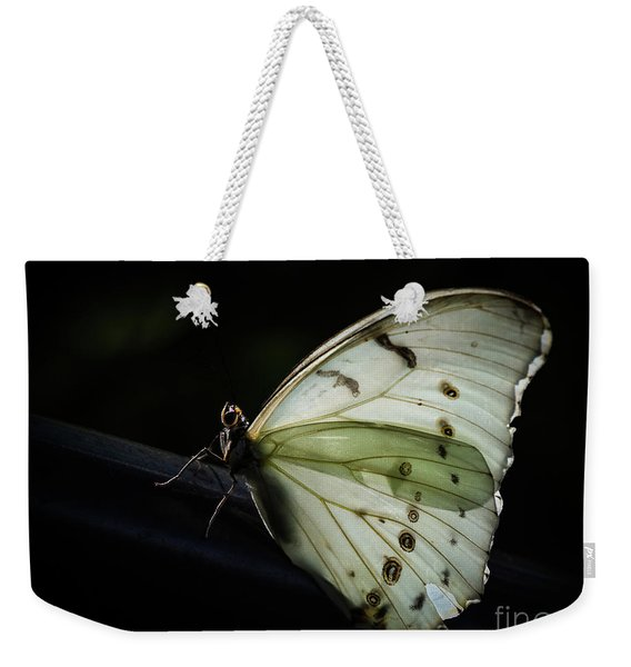 Weekender Tote Bag featuring the photograph White Morpho In The Moonlight by Robin Zygelman