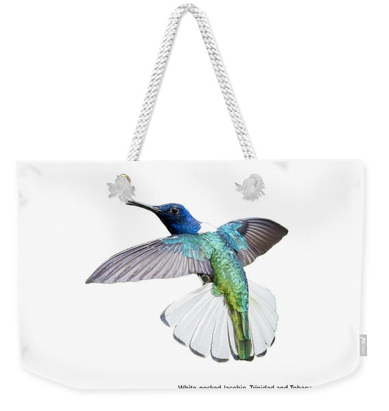 Weekender Tote Bag featuring the photograph White Necked Jacobin Trinidad by Rachel Lee Young