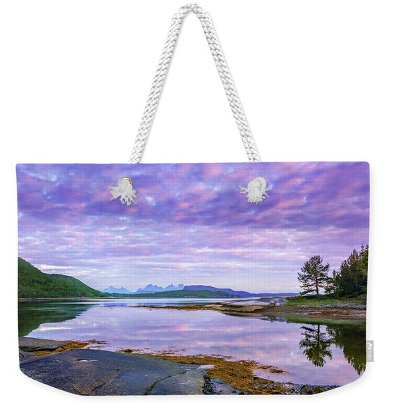 Weekender Tote Bag featuring the photograph White Night In Nordkilpollen Cove by Dmytro Korol