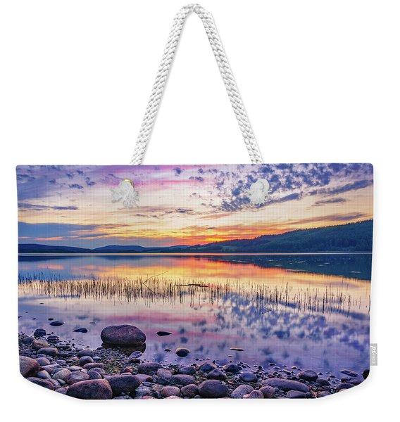 White Night Sunset On A Swedish Lake Weekender Tote Bag