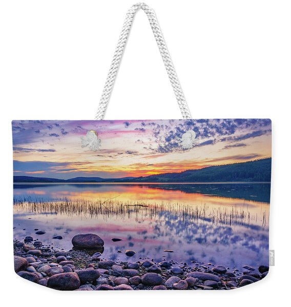 Weekender Tote Bag featuring the photograph White Night Sunset On A Swedish Lake by Dmytro Korol