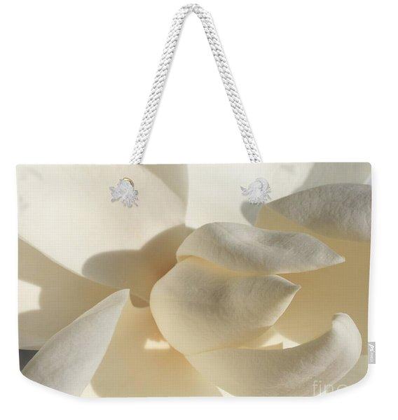 White-on-white Magnoia Weekender Tote Bag