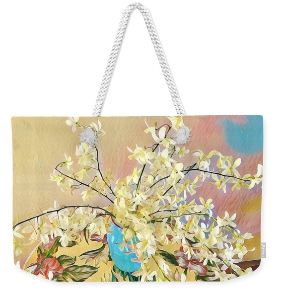 White Orchid Bouquet Pink/blue Weekender Tote Bag