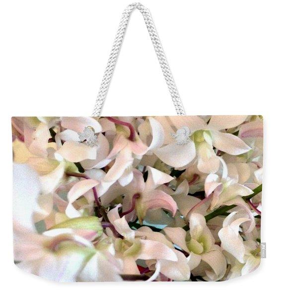 White Orchid Cluster Weekender Tote Bag