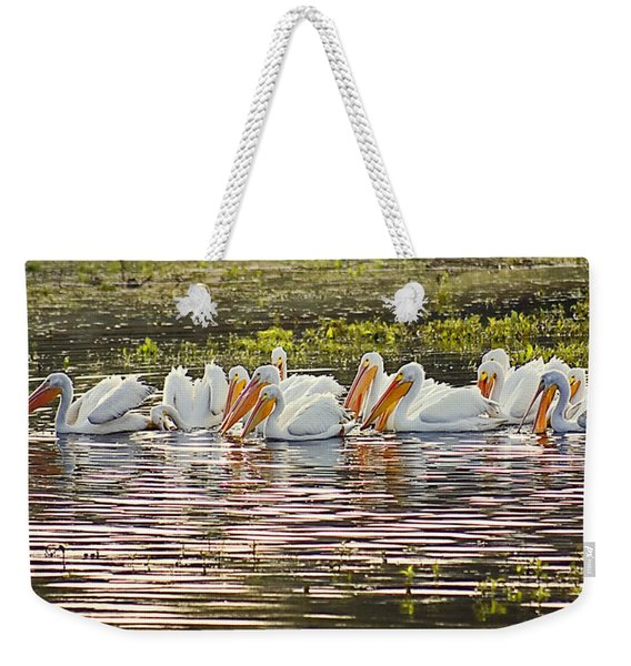 White Pelican Parade Weekender Tote Bag