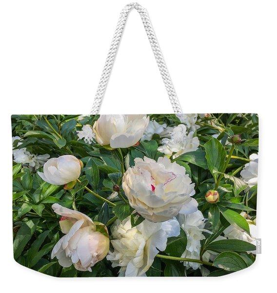 White Peonies In North Carolina Weekender Tote Bag