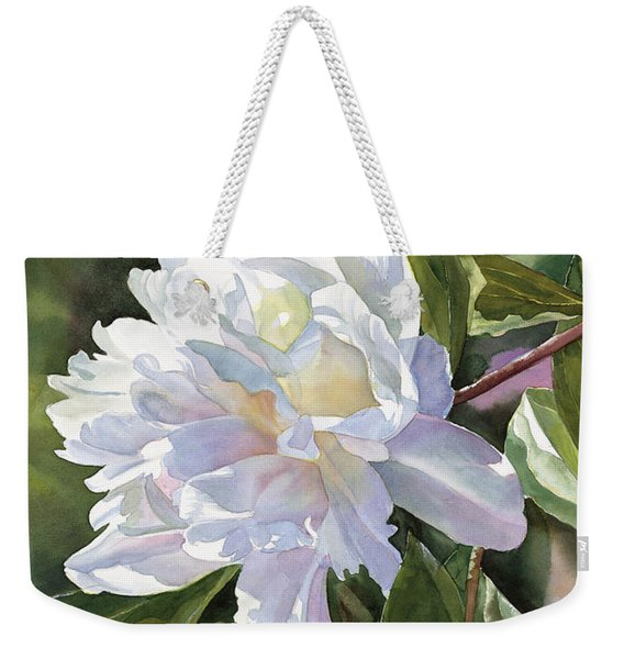 White Peony With Bud Weekender Tote Bag