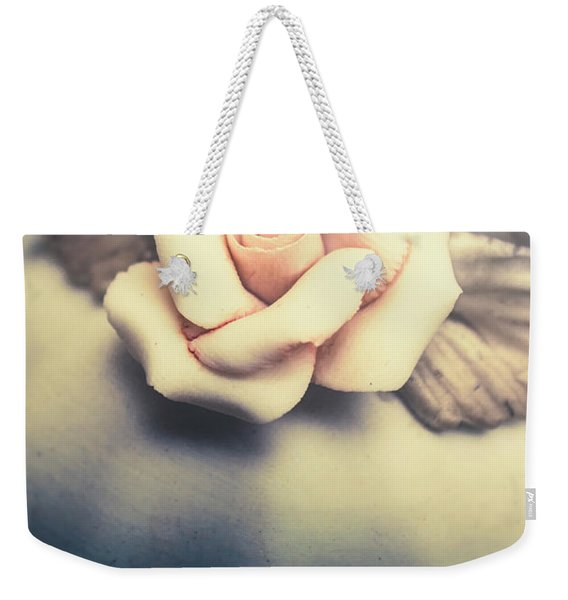 White Porcelain Rose Weekender Tote Bag