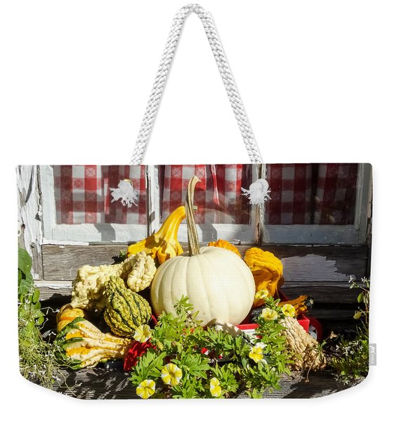 White Pumpkin And Gourds In A Windowbox Weekender Tote Bag
