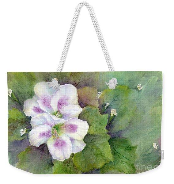 White Purple Flowers Weekender Tote Bag