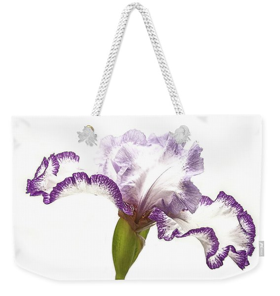 Weekender Tote Bag featuring the photograph White Purple Iris by Scott Cordell