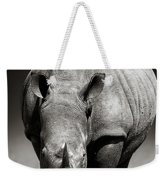 White Rhinoceros  In Due-tone Weekender Tote Bag