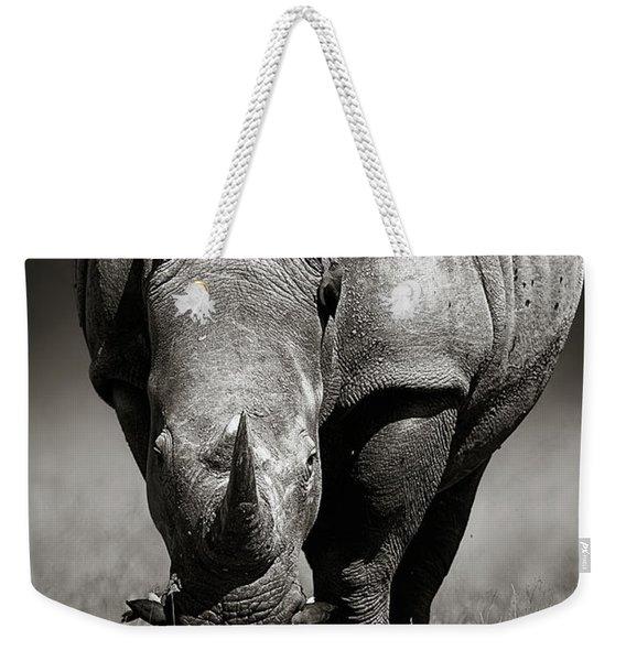 White Rhinoceros  In Due-tone Weekender Tote Bag