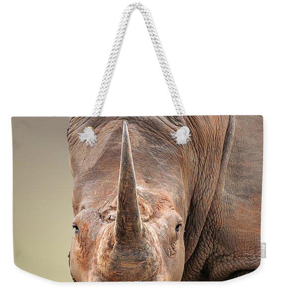 White Rhinoceros Portrait Weekender Tote Bag