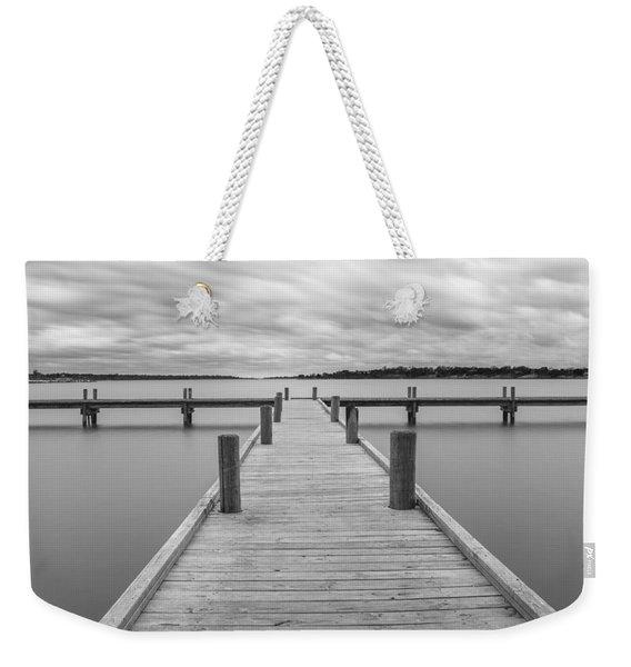 White Rock Lake Pier Black And White Weekender Tote Bag