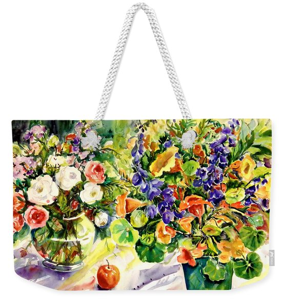 White Roses Blue Delphininums Weekender Tote Bag