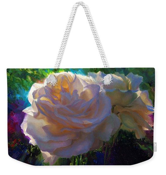 White Roses In The Garden - Backlit Flowers - Summer Rose Weekender Tote Bag