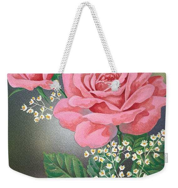 White Small Flowers And Roses Weekender Tote Bag