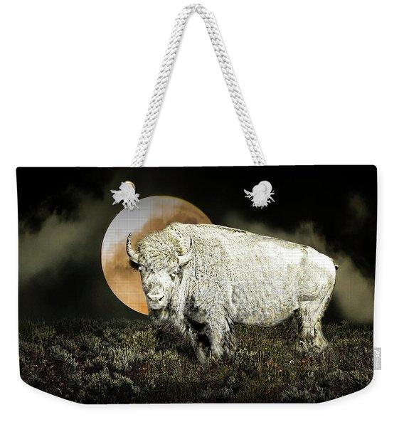 White Spirit Buffalo And Moon Weekender Tote Bag