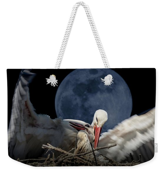 White Storks Of Fagagna With Full Moon Weekender Tote Bag