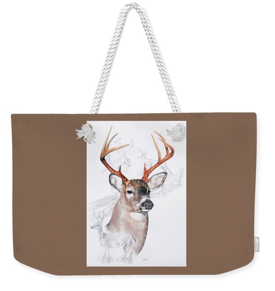 Weekender Tote Bag featuring the mixed media White-tailed Deer by Barbara Keith