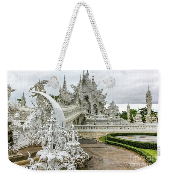 Weekender Tote Bag featuring the photograph White Temple Thailand by Benny Marty