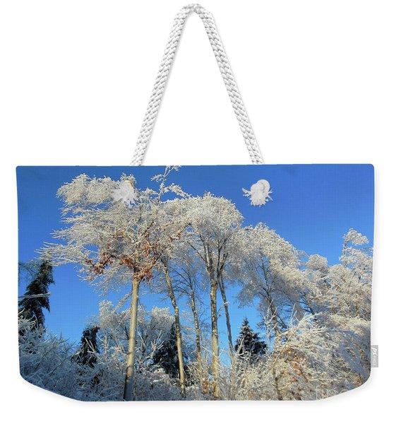 White Trees Clear Skies Weekender Tote Bag