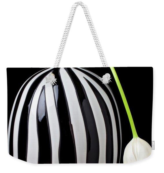 White Tulip In Striped Vase Weekender Tote Bag