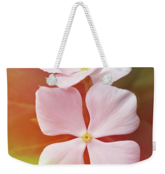 White Vinca With Vivid Highligts  Weekender Tote Bag